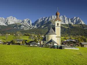 Church in Going, Wilder Kaiser (Wild Kaisr Mountain), Tyrol, Austria by Rainer Mirau