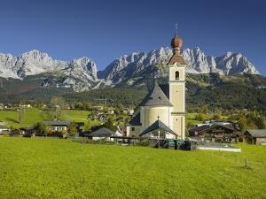 Church in Going, Wilder Kaiser (Wild Kaisr Mountain), Tyrol, Austria by Rainer Mirau