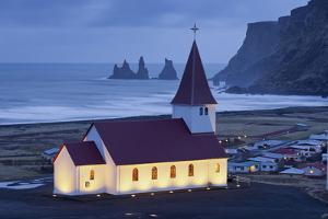 Church in Vik, Reynisdrangar, South Iceland, Iceland by Rainer Mirau