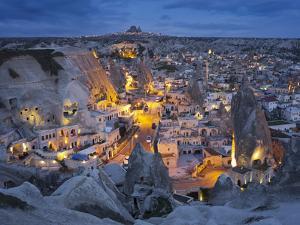 City View of Gšreme by Night, Cappadocia, Anatolia, Turkey by Rainer Mirau