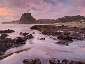 Dusk in the Lion Rock, Piha, Auckland, North Island, New Zealand by Rainer Mirau