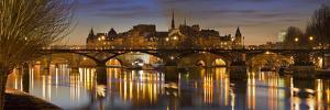 France, Paris, Hotel De Ville, Pont of the Arts, Seine, Lighting, Evening by Rainer Mirau