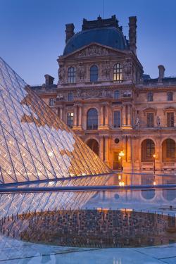 France, Paris, Ile De France, Louvre, Dusk, Pyramid by Rainer Mirau