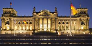 Germany, Berlin, Platz Der Republik (Square of the Republic), Reichstag, Night by Rainer Mirau