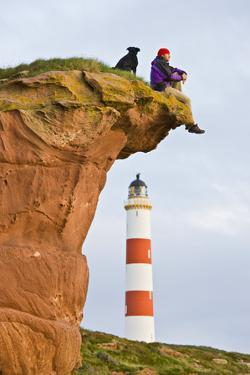 Great Britain, Scotland, Tarbat Ness, Lighthouse, Rock, Man, Dog, Sit by Rainer Mirau