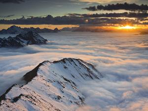 Italy, Lombardy, Stilfser Joch National Park, View from Monte Scorluzzo in Direction Engadin, Sun by Rainer Mirau