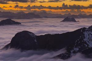 Italy, Lombardy, View of Monte Scorluzzo in to the Direction Engadin by Rainer Mirau