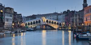Italy, Veneto, Venice, Grand Canal, Rialto Bridge, Lighting, Evening by Rainer Mirau