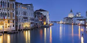 Italy, Veneto, Venice, Grand Canal, Santa Maria Della Salute, Dusk by Rainer Mirau