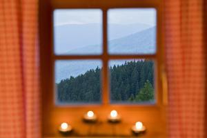Mountain Hut, Window, View by Rainer Mirau