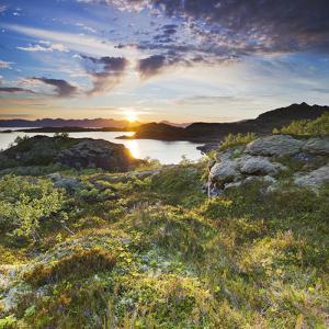 Norway, Nordland, Lofoten, Falkfjorden, the Sun by Rainer Mirau