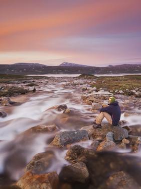 Norway, Nordland, Saltfjellet Svartisen National Park, Luonosvagge, a Person by Rainer Mirau