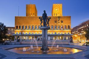 Norway, Oslo, City Hall, Well, Lighting, Dusk by Rainer Mirau