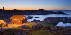Norway, Vest Adger, Houses, Coast, Dusk by Rainer Mirau