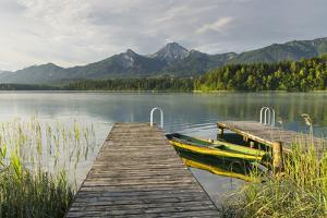 Rowboat, Bridge, Faaker Lake, Mittagskogel, Carinthia, Austria by Rainer Mirau