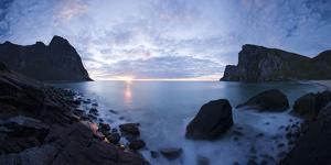 Scandinavia, Norway, Lofoten, Moskenesoey, Kvalvika, Sea-Bay, Sunset, Cloudy-Mood by Rainer Mirau