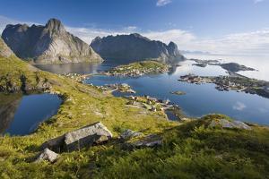Scandinavia, Norway, Lofoten, Moskenesoey, Pure, Mountains, Fisher-Place, Panorama by Rainer Mirau