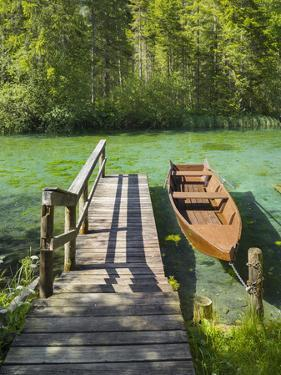 Schiederweiher, Rowing Boat at the Jetty, Upper Austrian Limestone Alps, Upper Austria, Austria by Rainer Mirau