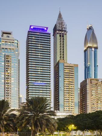 Skyscrapers at Sheikh Zayed Road, Dubai, United Arab Emirates by Rainer Mirau