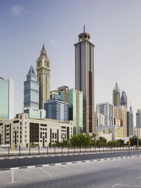 Skyscrapers at the 308th Road, Sheikh Zayed Road, Dubai, United Arab Emirates by Rainer Mirau