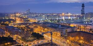 Spain, Catalonia, Barcelona, City View, Dusk by Rainer Mirau