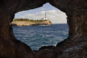 Spain, Mallorca, East Coast, Lighthouse of Portocolom, Punta De S'Homonet, Rock Hole by Rainer Mirau