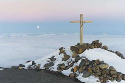Summit Cross in the Pico De La Nieve, Full Moon, Island La Palma, Canary Islands, Spain