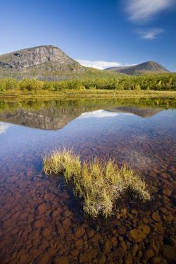 Sweden, Lapland, Lake, Shore, Mountain Scenery by Rainer Mirau