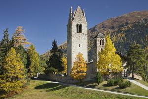 Switzerland, GraubŸnden (Canton), the Engadine, San Gian, Church, Ruin by Rainer Mirau