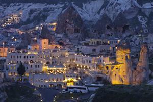 Town View of Gšreme at Night, Cappadocia, Anatolia, Turkey by Rainer Mirau
