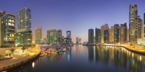 United Arab Emirates, Dubai, Dubai Marina, High Rises, Evening Light by Rainer Mirau