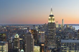 View of the Top of the Rock, Empire State Building, Rockefeller Centre, Manhattan, New York by Rainer Mirau