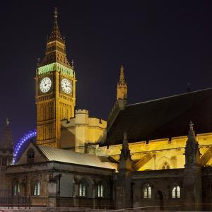 Westminster Palace, Big Ben, at Night, London, England, Great Britain by Rainer Mirau