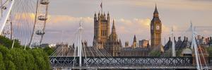 Westminster Palace, Big Ben, London Eye, Hungerford Bridge, London, England, Great Britain by Rainer Mirau