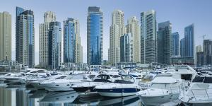 Yachts in the Harbour of Dubai Marina, High Rises, Dubai, United Arab Emirates by Rainer Mirau