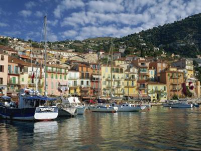 Boats in the Harbour and Painted Houses, Villefranche, on the Cote D'Azur, Provence, France by Rainford Roy