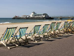 Bournemouth East Beach, Deck Chairs and Pier, Dorset, England, United Kingdom, Europe by Rainford Roy