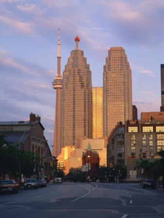 C.N.Tower and City Centre Skyscraper at Dawn, Toronto, Ontario, Canada, North America by Rainford Roy