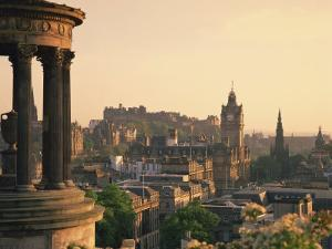Dugald Stewart Monument and View over Princes Street, Edinburgh, Lothian, Scotland by Rainford Roy