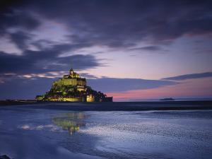 Mont St. Michel, Illuminated at Dusk, La Manche Region, Basse-Normandie, France by Rainford Roy