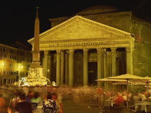 Pantheon Illuminated at Night in Rome, Lazio, Italy, Europe by Rainford Roy