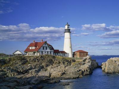 Portland Head Lighthouse on Rocky Coast at Cape Elizabeth, Maine, New England, USA by Rainford Roy