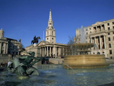 Trafalgar Square, Including St. Martin in the Fields, London, England, UK by Rainford Roy
