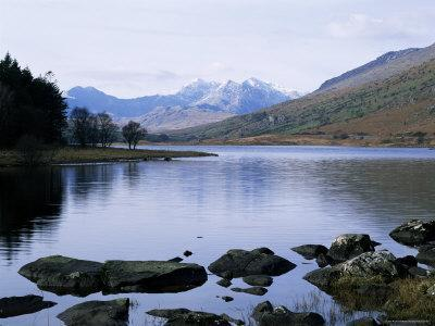 Llyn Mynbyr in the Early Morning, with Snowdonian Mountains Behind, Capel Curig, North Wales