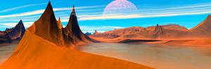 Panoramic View. Desert Spires. Digitally Generated by Raj Kamal