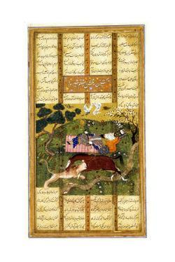 Rakhsh Kills an Attacking Lion While Rustam Sleeps. from the Shahnama (Book of King), Ca 1470