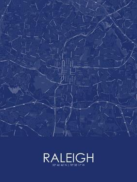 Raleigh, United States of America Blue Map