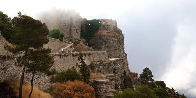 Italy, Sicily, province of Trapani, Erice, Norman castle, rock, fog, early morning
