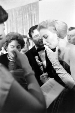 """Actress Joanne Woodward Holding Her Best Actress Oscar for """"Three Faces of Eve"""", L.A, CA, 1958 by Ralph Crane"""