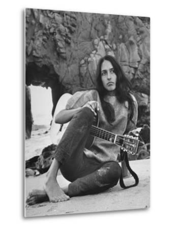 Folk Singer Joan Baez on the Beach with Guitar Near Her Home by Ralph Crane